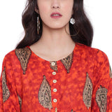 PINKY PARI ORANGE PRINTED RAYON LONG FLARED KURTA