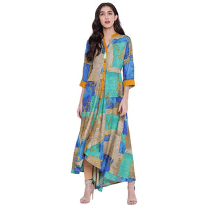 PINKY PARI MULTICOLOR PRINTED RAYON LONG FLARED KURTA