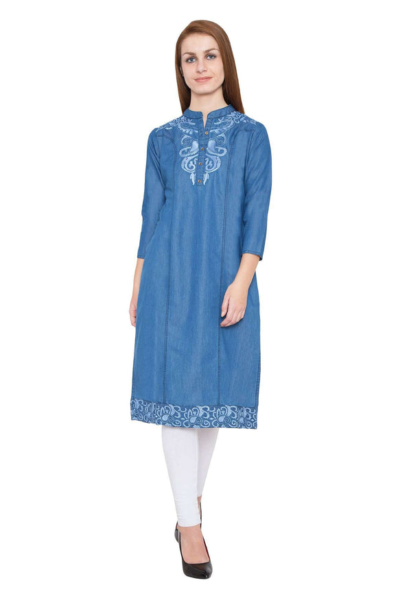 PINKY PARI LIGHT BLUE DENIM KURTI