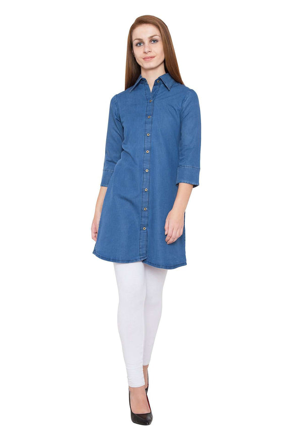 PINKY PARI BLUE DENIM SHIRT LONG TUNIC
