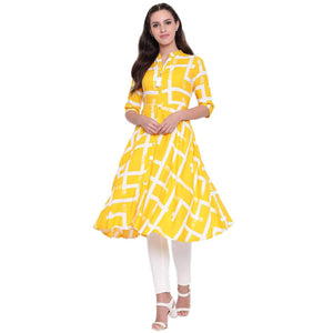 LOPA RAYON YELLOW FIT AND FLARE DRESS