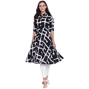 PINKY PARI FIT & FLARE RAYON PRINTED MIDI DRESS