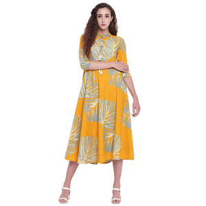 FLARED RAYON PRINTED LONG STYLISH KURTA
