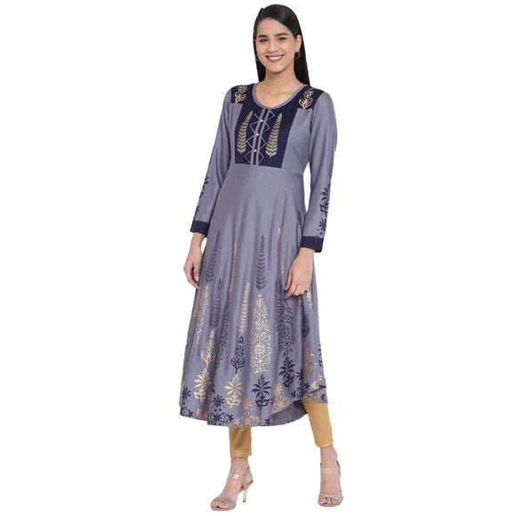 LOPA WOMEN STYLISH FOIL PRINT GREY FLARED KURTA