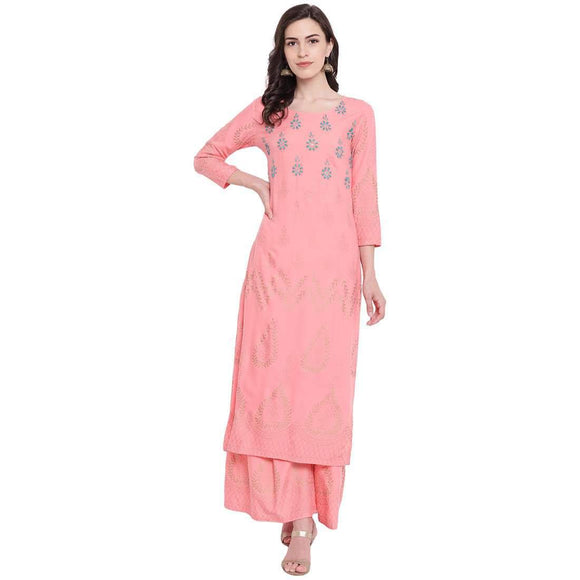 WOMEN'S STYLISH FOIL PRINTED & EMBROIDERED RAYON STRAIGHT FIT KURTA AND PALAZZO SET