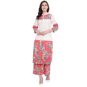 STYLISH WOMEN'S DIGITAL PRINTED CHIKANKARI KURTA AND PALAZZO SET