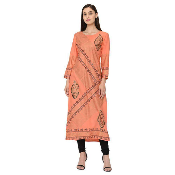 pinky pari Orange Rayon Straight Kurti
