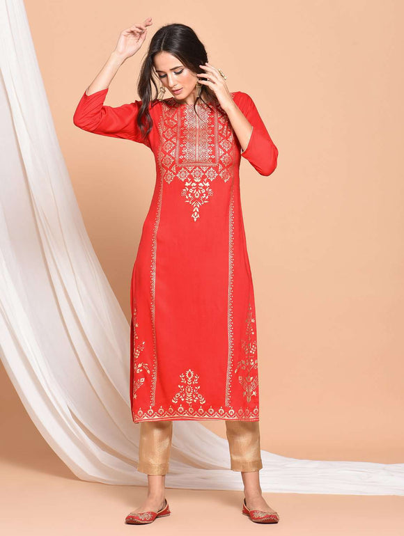 PINKY PARI FOIL PRINTED STRAIGHT FIT RAYON RED COLOR KURTA
