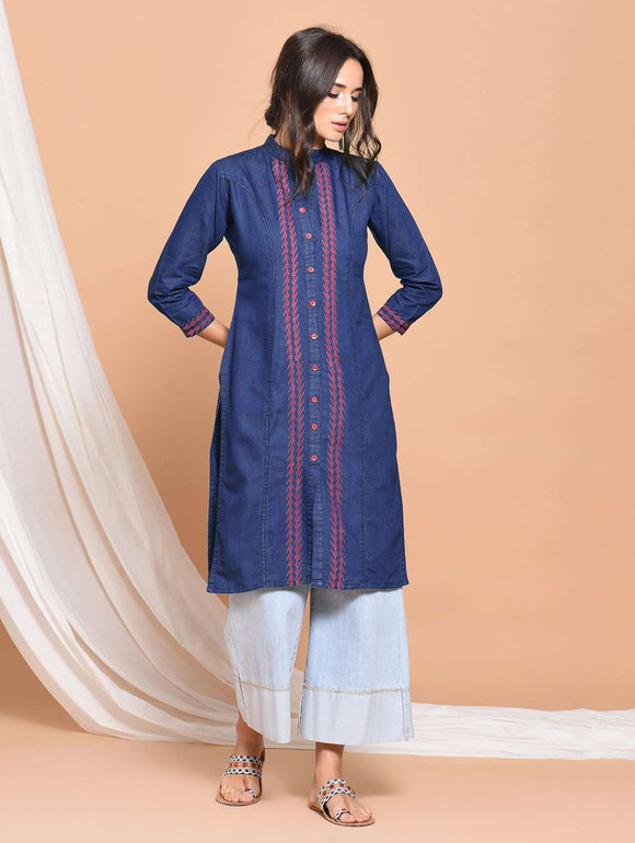 PINKY PARI BANDED COLLAR DENIM BLUE EMBROIDERED STRAIGHT KURTA