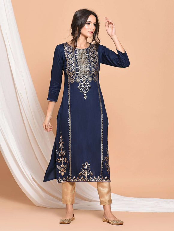 PINKY PARI FOIL PRINTED STRAIGHT FIT RAYON BLUE COLOR KURTA