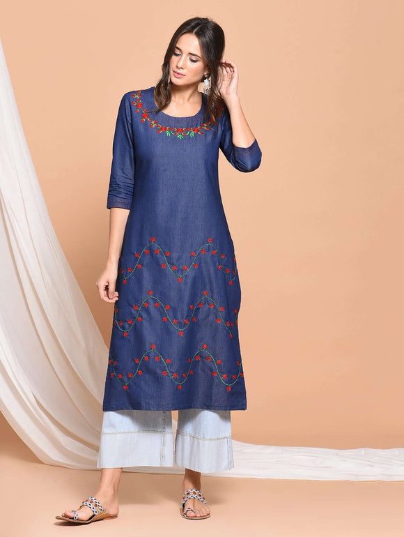 PINKY PARI DENIM BLUE EMBROIDERED STRAIGHT KURTI