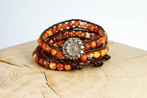 Armband Perlen rot orange Leder handgemacht Fair Trade
