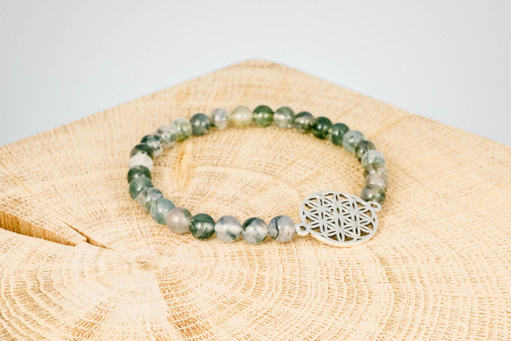 Armband Edelstein Moosachat Silber Flower of Life handgemacht Fair Trade