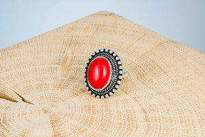 Ring Fingerring Schmuckstein rot handgemacht Fair Trade Indien