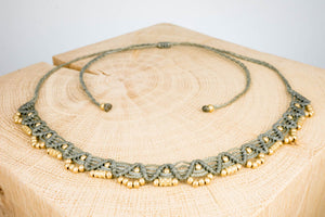 Halsband Halskette Chocker grau gold handgemacht Fair Trade