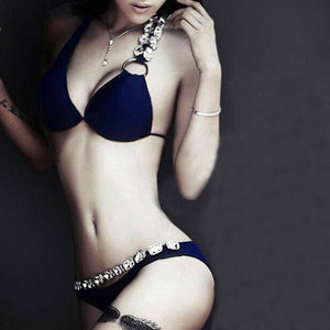 Anagada Deep Blue 2 Piece Bikini with Rhinestone Chain Detail