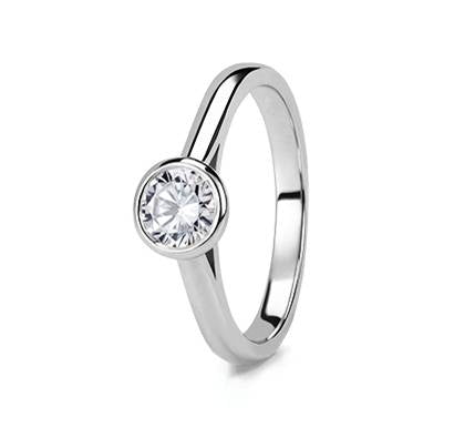 3. White Gold Tube Set Solitaire Diamond Ring