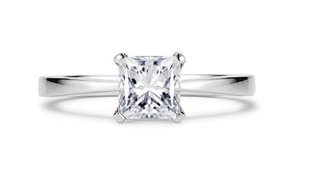 5. White Gold Princess Cut Solitaire Diamond Ring