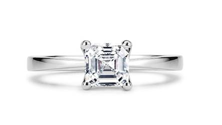 6. White Gold Radiant Cut Solitaire Diamond Ring