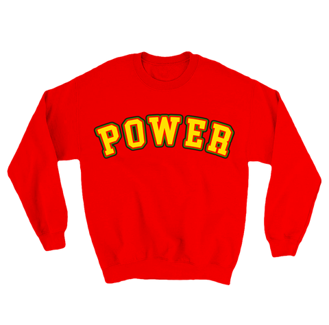 'power' crewneck (red)