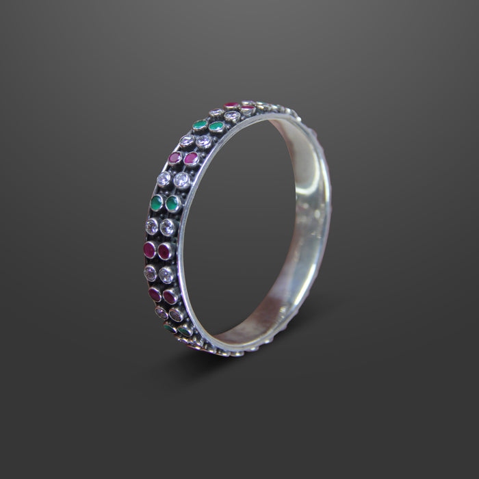 SILVER RUBY AND EMERALD BANGLE - SGP 1382