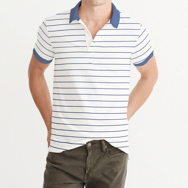 B Quality ChenOne Single Jersey Polo Shirt For Men-Off White & Light Navy Stripe-BE4564
