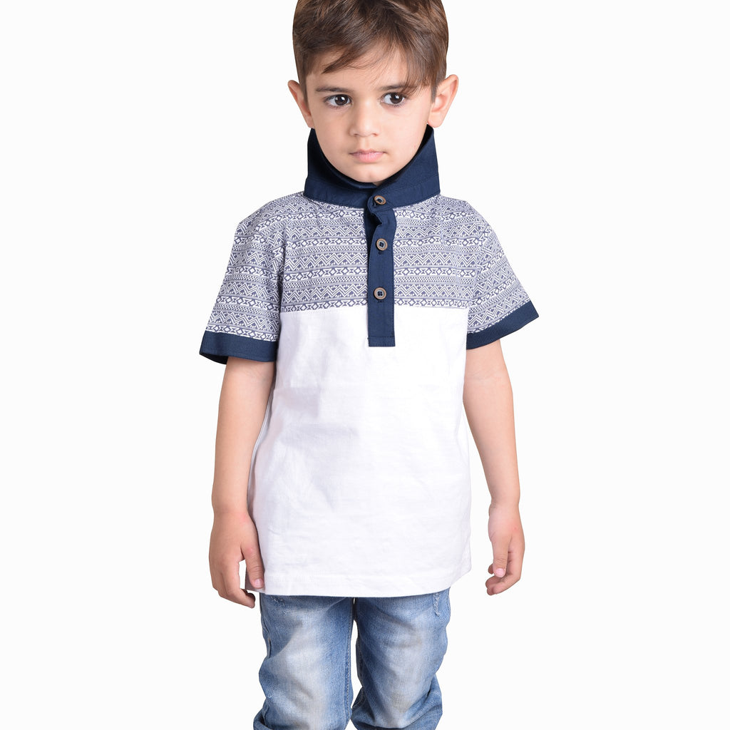 B Quality NEXT Polo Shirt For Kids-White with Printing Panel-BE4354