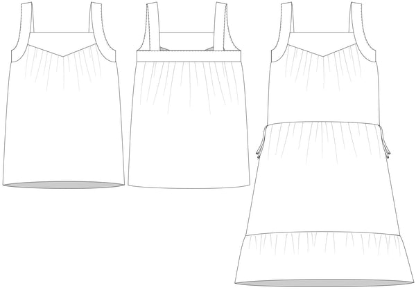 halfmoon STRAND dress + top line drawings