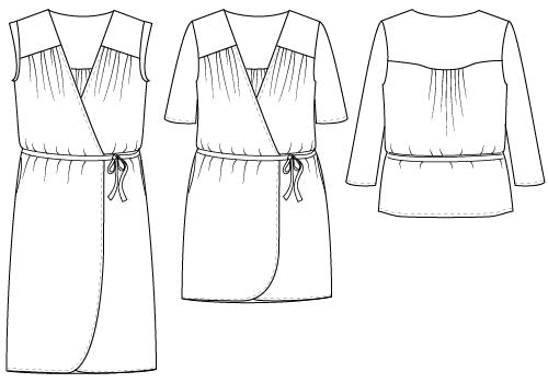 wrap top + dress VONDEL illustration outlines