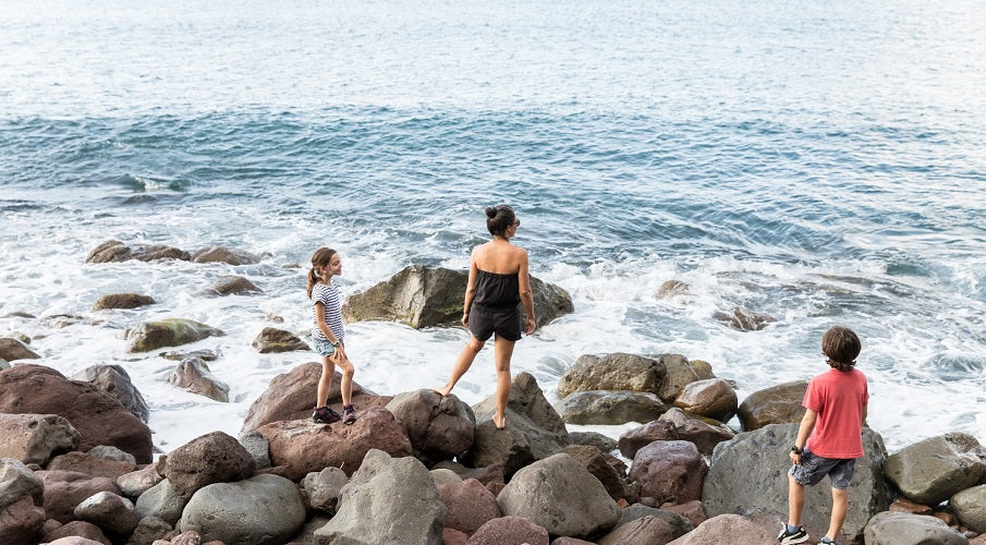 halfmoon ATELIER | on the rocks at Well's Bay in my jumpsuit TOFO