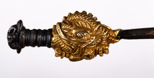 Shakudo Dragon Menuki with Gilded Elements