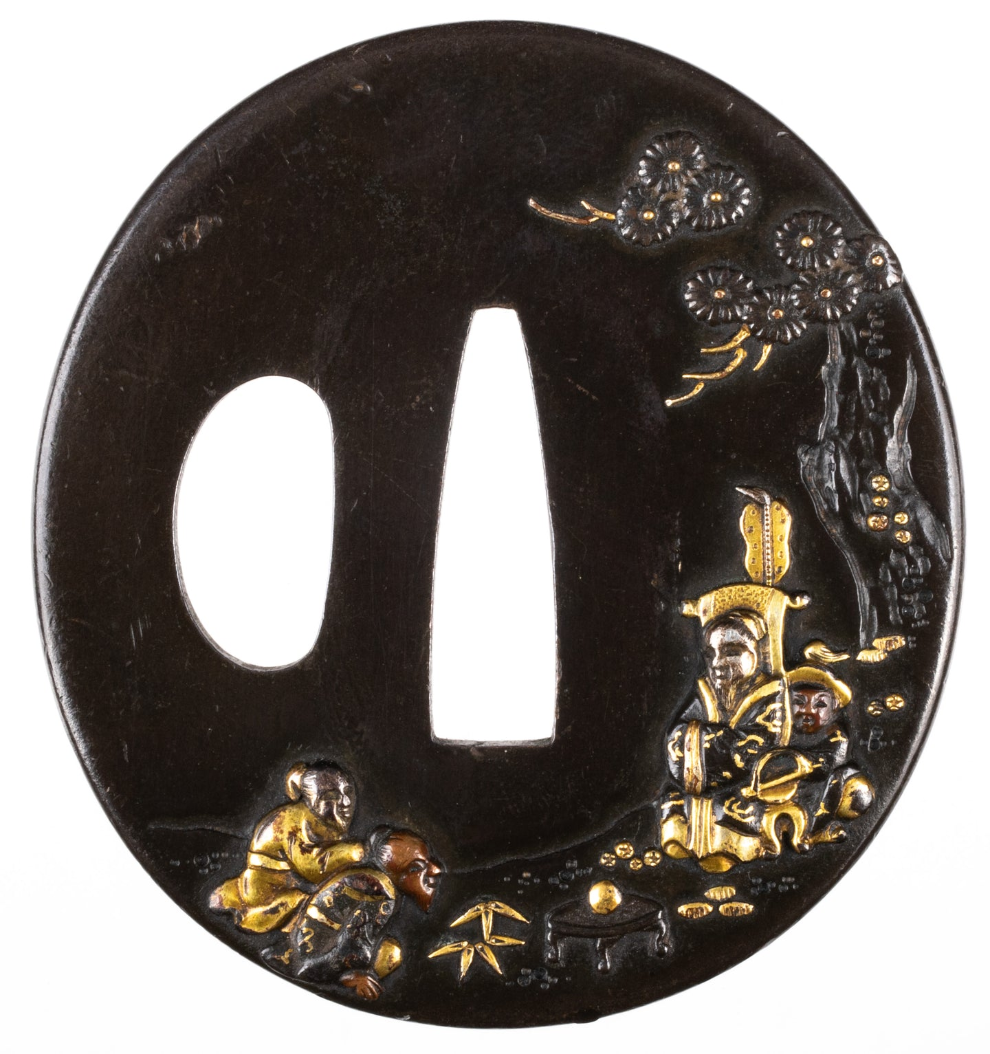 Shakudo Tsuba Decorated with Bian He and