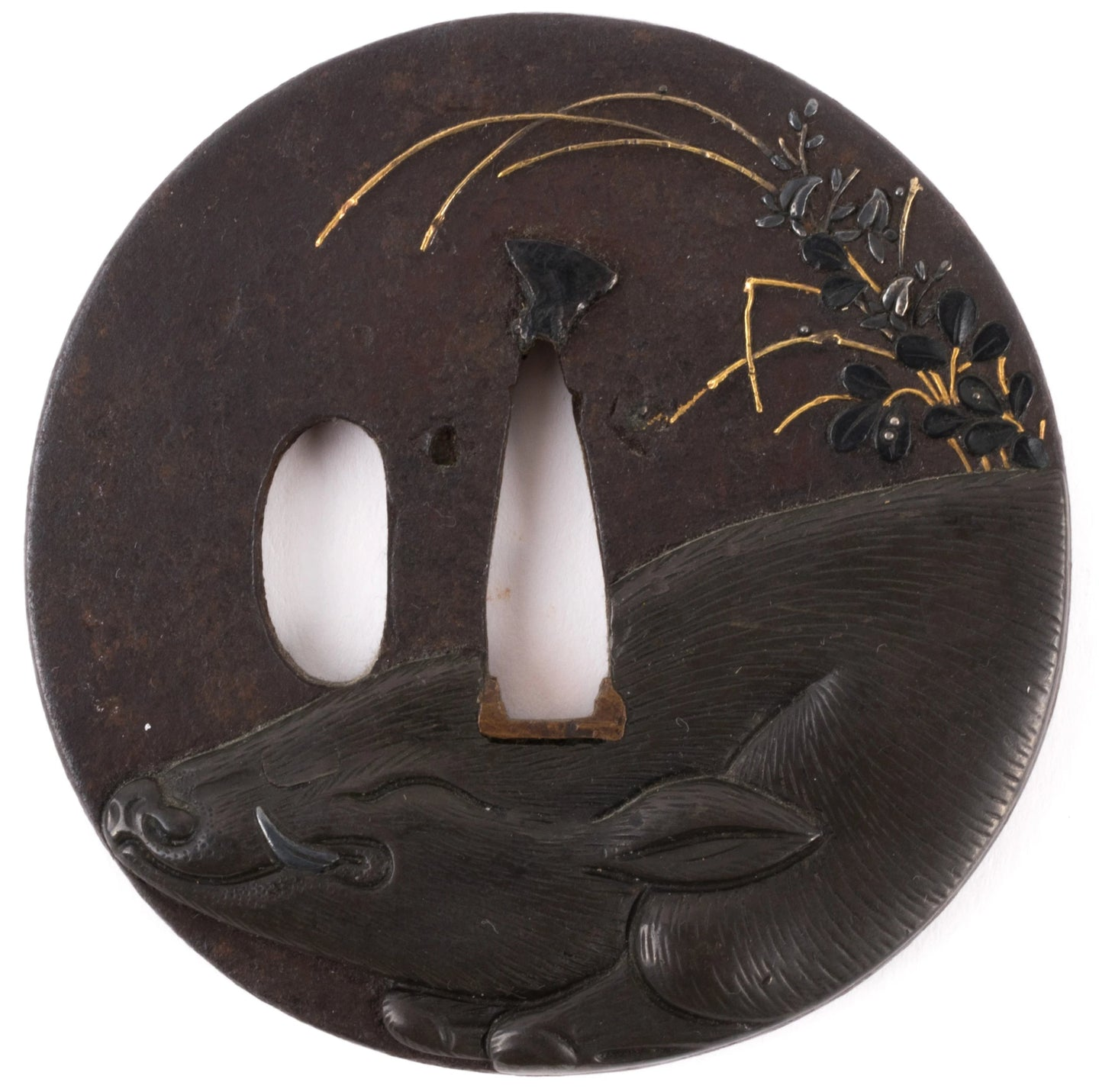 Shoami School Iron Tsuba with Wild Boar Among Autumn Flowers