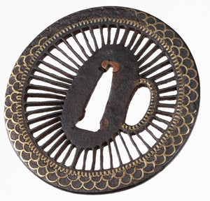 Iron Sukashi Tsuba Decorated with Chrysanthemum