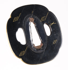 Shakudo Hira Zogan Rain and Thunders Tsuba - Gilded Rim