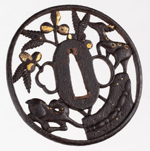 Kyo-Shoami Tsuba Decorated With Two Deers and Bush Clover