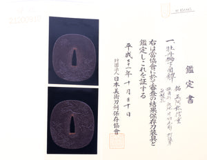 "Iron Tsuba Signed ""Shoami Nobushige"" with NBTHK Hozon Tosogu"