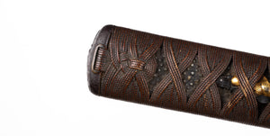 Jabara Ito Katana Tsuka with Iron Fuchikashira - Autumn Flowers and Grass