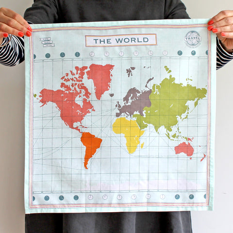 Map Of The World Handkerchief - Pack of 4 - Sukie Wholesale