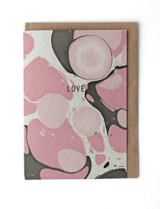 CARD023 Marble Pink/Brown 'Love' Card- Pack of 6 - Sukie Wholesale