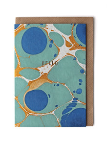 CARD024 Marble Royal Blue 'Hello' Card- Pack of 6 - Sukie Wholesale