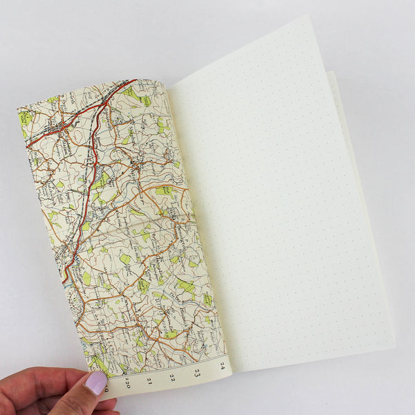 Linen Map Travel Notes in Blue - Pack of 4 - Sukie Wholesale