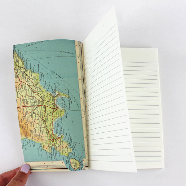 Linen Map Travel Notes in yellow - Pack of 4 - Sukie Wholesale
