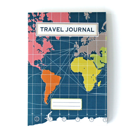 Travel Journal 'World Map Dark Blue' - Pack of 4 - Sukie Wholesale