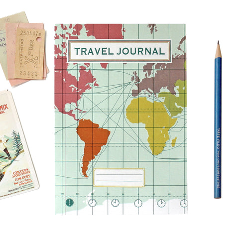 Travel Journal 'World Map Light Blue' - Pack of 4 - Sukie Wholesale