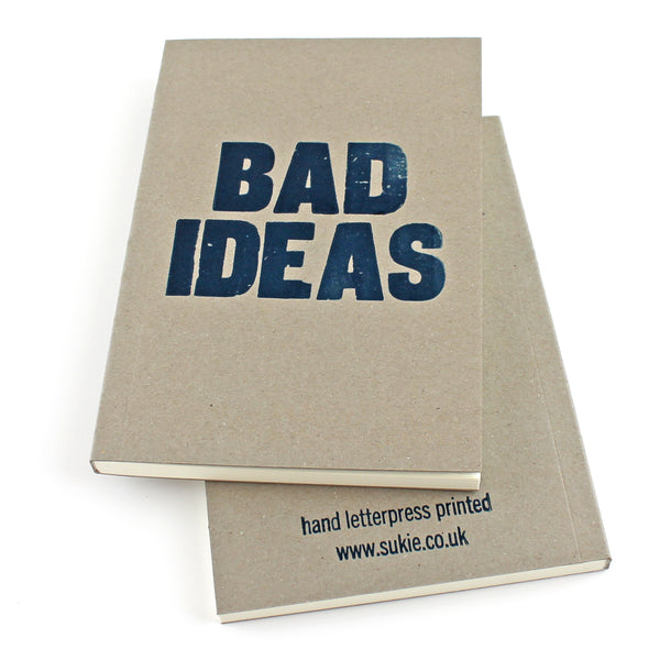LETTERPRESS Bad Ideas V043 Notebook - Pack of 4 - Sukie Wholesale