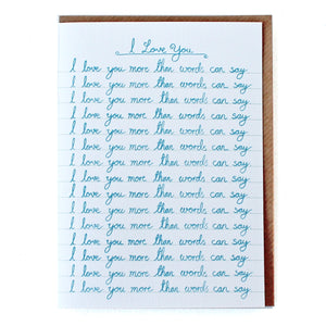 CARD033 I LOVE YOU MORE THAN WORDS CAN SAY - Pack of 6 - Sukie Wholesale