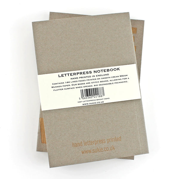 Plan B LETTERPRESS V036 Notebook - Pack of 4 - Sukie Wholesale