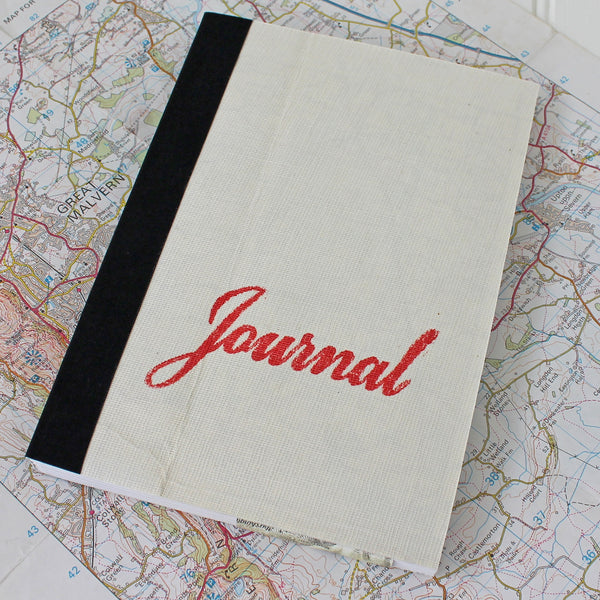 Vintage Linen Map Travel Journal - Red Script - Pack of 4 - Sukie Wholesale