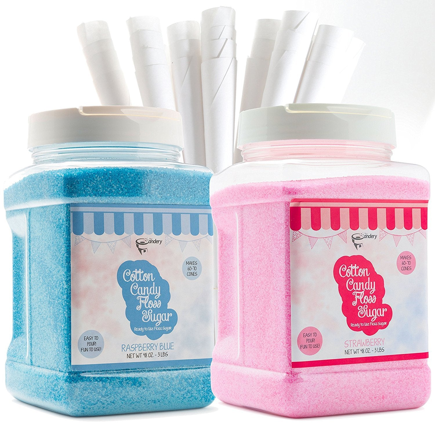 Cotton Candy Floss Sugar (2-Pack) Includes 100 Premium Cones Raspberry Blue and Strawberry Pink